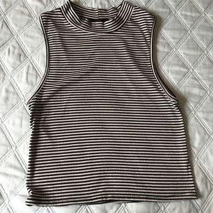 Black & White Striped High Neck Crop Top